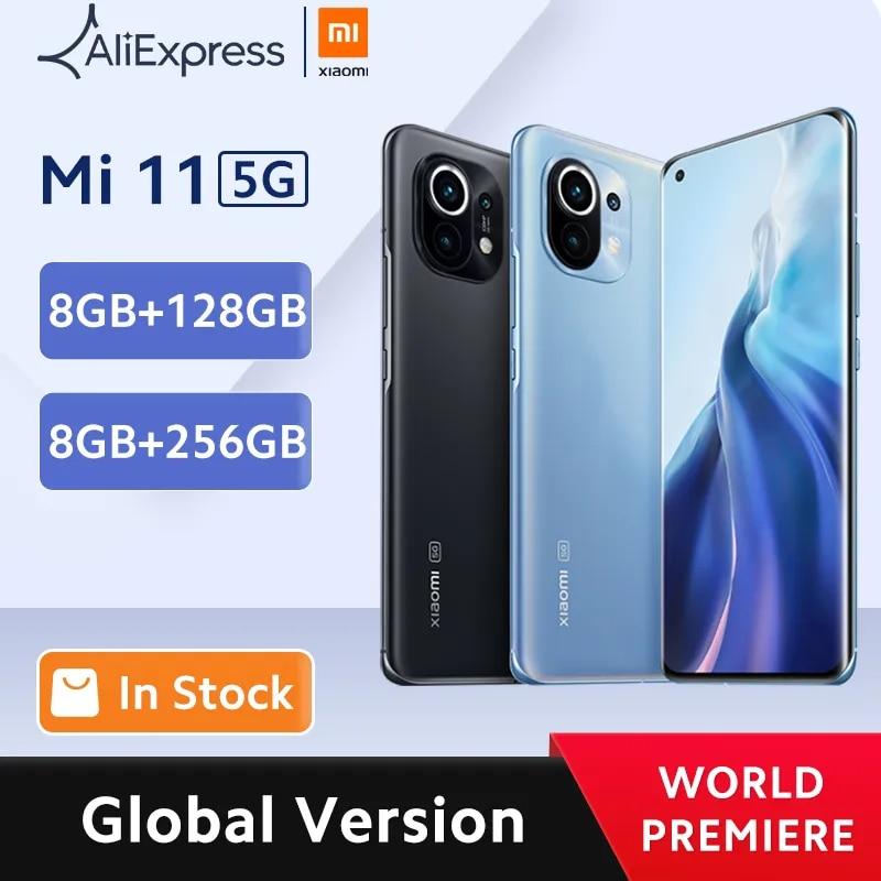 ?World Premiere?Global Version Xiaomi Mi 11 Smartphone 8GB RAM 128GB ROM Snapdragon 888 Octa Core 55W Fast Charge 120Hz AMOLED