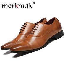 Merkmak حذاء رجالي 2020 جديد الربيع فستان أحذية عالية الجودة الأعمال بولي PU الجلود الدانتيل متابعة الأحذية الأحذية الرسمية لحفل الزفاف