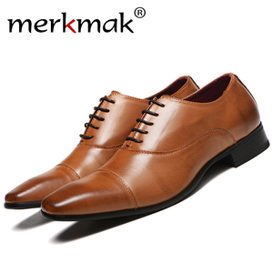 Image 1 - Merkmak Men Shoes 2020 New Spring Dress Shoes High Quality Business PU Leather Lace up Footwear Formal Shoes for Wedding Party