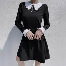Goth Halloween Gothic Vintage Short Dress Grunge Punk Patchwork Pleated Dress Fall 2019 Winter Long Sleeve Dress(China)