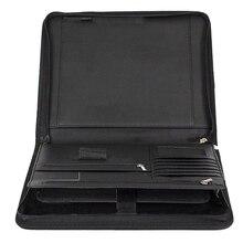 Sztuczna skóra Folder z zamknięciem na zamek błyskawiczny portfel dla biznes IPad/stolik i karty wywiad cv spoiwa