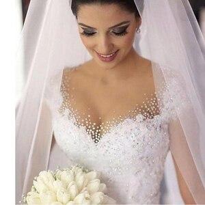 Image 1 - ZJ9099 fashion Beads Crystal White Ivory Wedding Dresses for brides plus size maxi formal Cap Sleeve