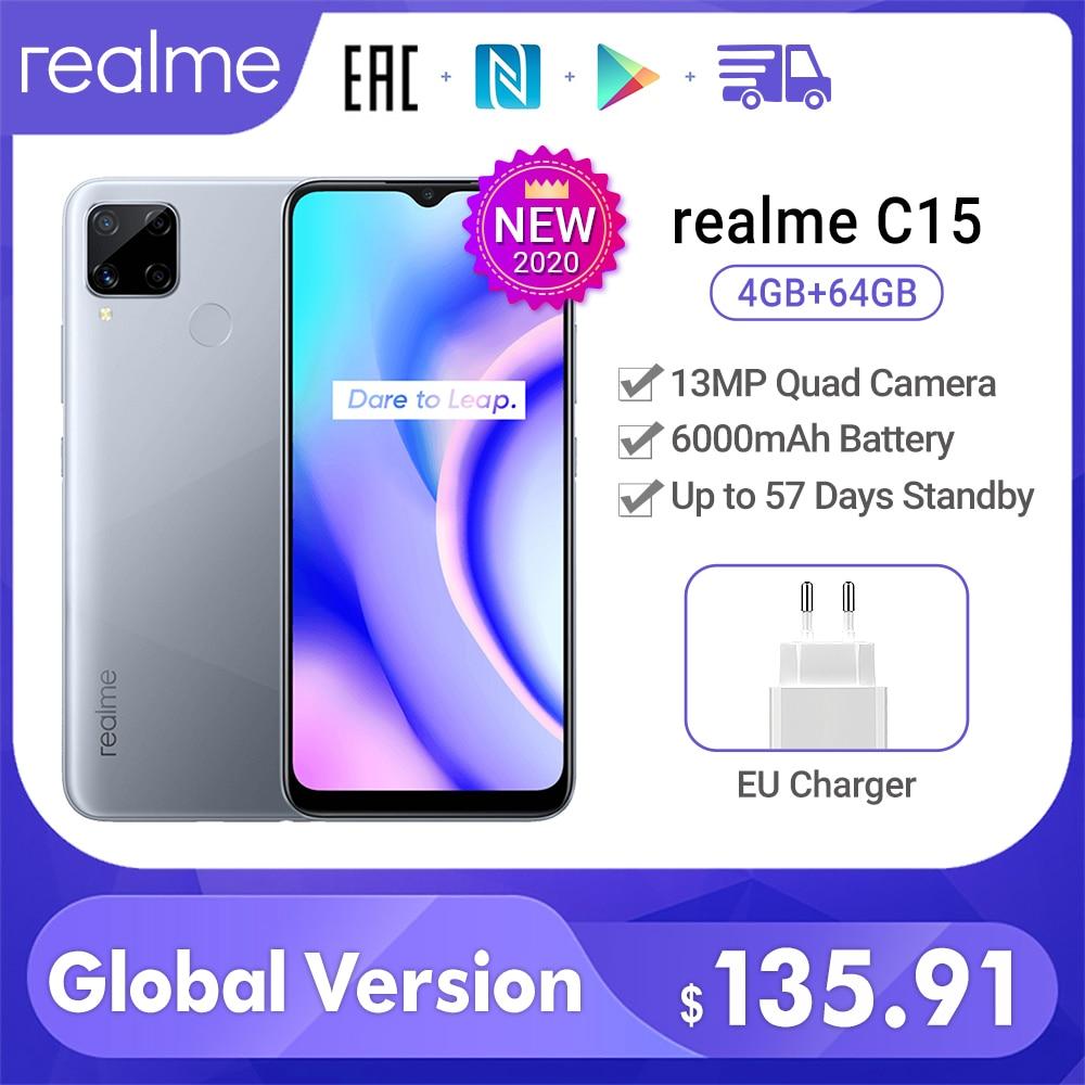 realme C15 Global Version 4GB 64GB 6000mAh Battery 13MP Quad Camera 6.5'' FullScreen 3 Card Slot Helico G35 Octa Core cellphone