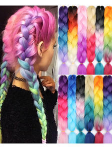 MERISIHAIR Hair-Extensions Jumbo Braids Crochet Blonde Grey Pink Blue Long Synthetic
