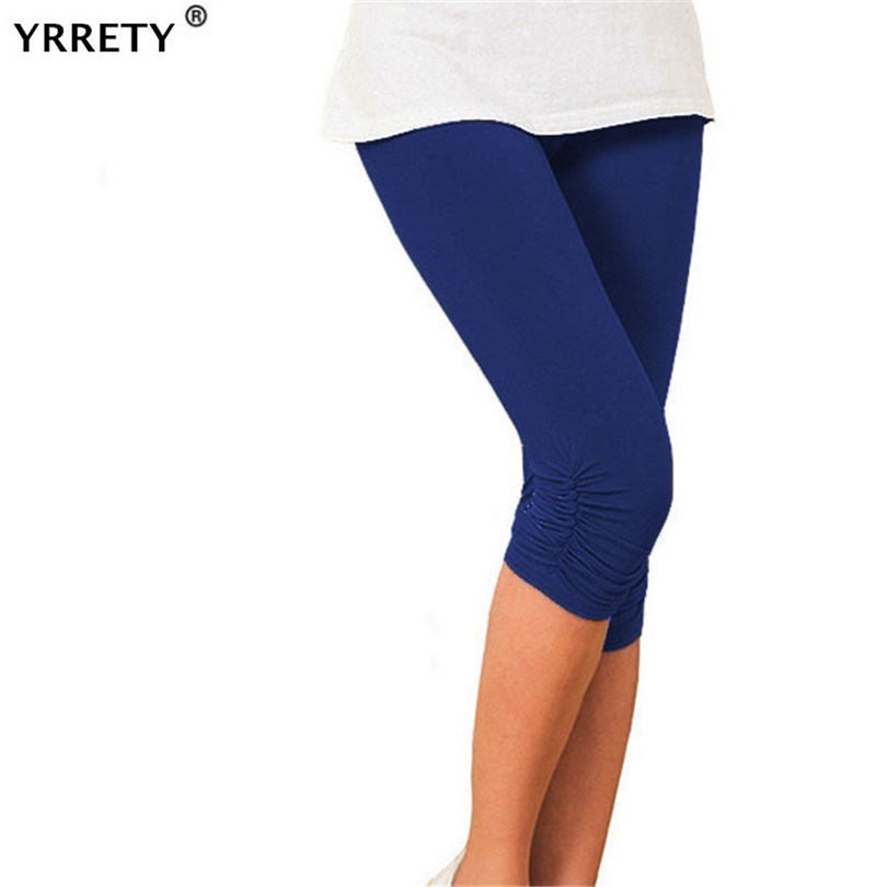 YRRETY Mid-calf Gray White Black Leggings Femme Leggins Fitness Push Up Elastic Clothing Spandex Legging Capris For Women Pants