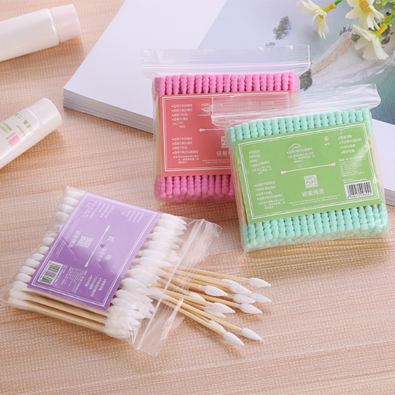 100pcs/ Pack Double Head Cotton Swab Women Makeup Cotton Buds Tip For Medical Wood Sticks Nose Ears Cleaning Health Care