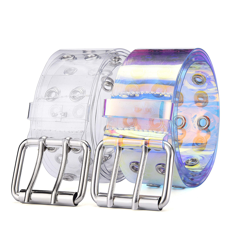 Two Row PVC Clear Belt For Women Fashion Pin Buckle Female White Waist Trousers Transparent Belts Ladies Jeans Grommet Belt Gg