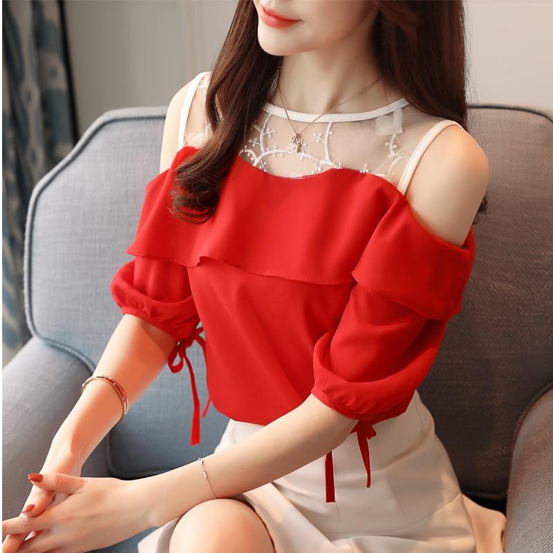 Korean Fashion Chiffon Blouses for Women Summer Woman Lace Patchwork Blouse Shirts Blusas Mujer De Moda Women Blouses Plus Size