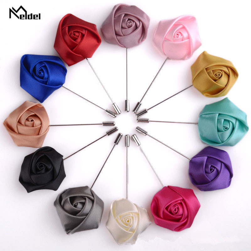 Meldel Groomsmen Boutonniere Men Brooch Pins Artificial Silk Rose Flowers Corsage Wedding Groom Boutonniere Multi Color Pins