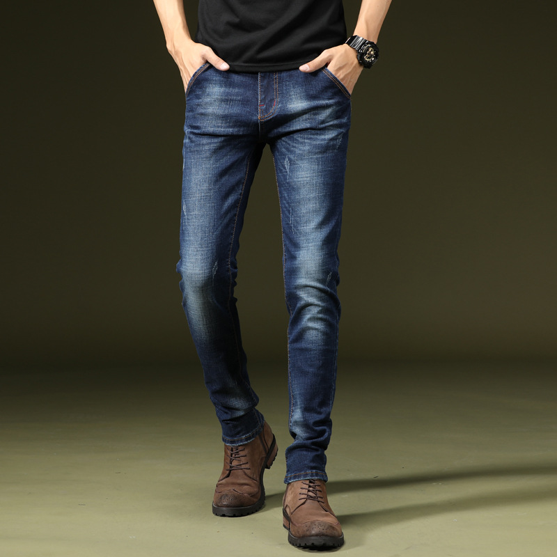 New Style Autumn MEN'S Jeans Fashion Elasticity Slim Fit Skinny Pants Korean-style MEN'S Casual Trousers