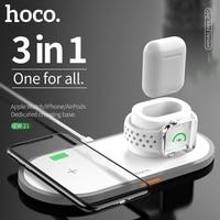 Hoco 3 em 1 qi sem fio carregador almofada para iphone 11 pro x xs max xr para apple assista 4 3 2 airpods 10 w carga rápida para samsung s10|Carregadores de celular| |  -