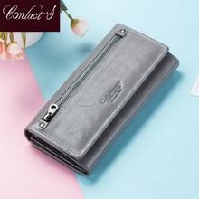 Carteiras de couro genuíno das mulheres do contato com o bolso da moeda carteiras longas pequenas do zíper com porta cartão bolsa femal portfel