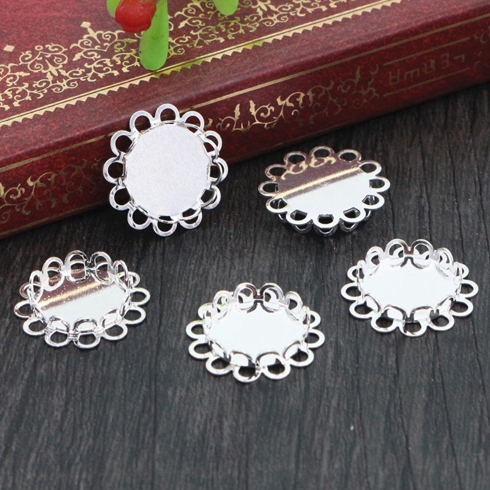 14pcs 12mm Inner Size Silver Plated Brass Material Simple Style Cabochon Base Cameo Setting Charms Pendant Tray (A1-11)