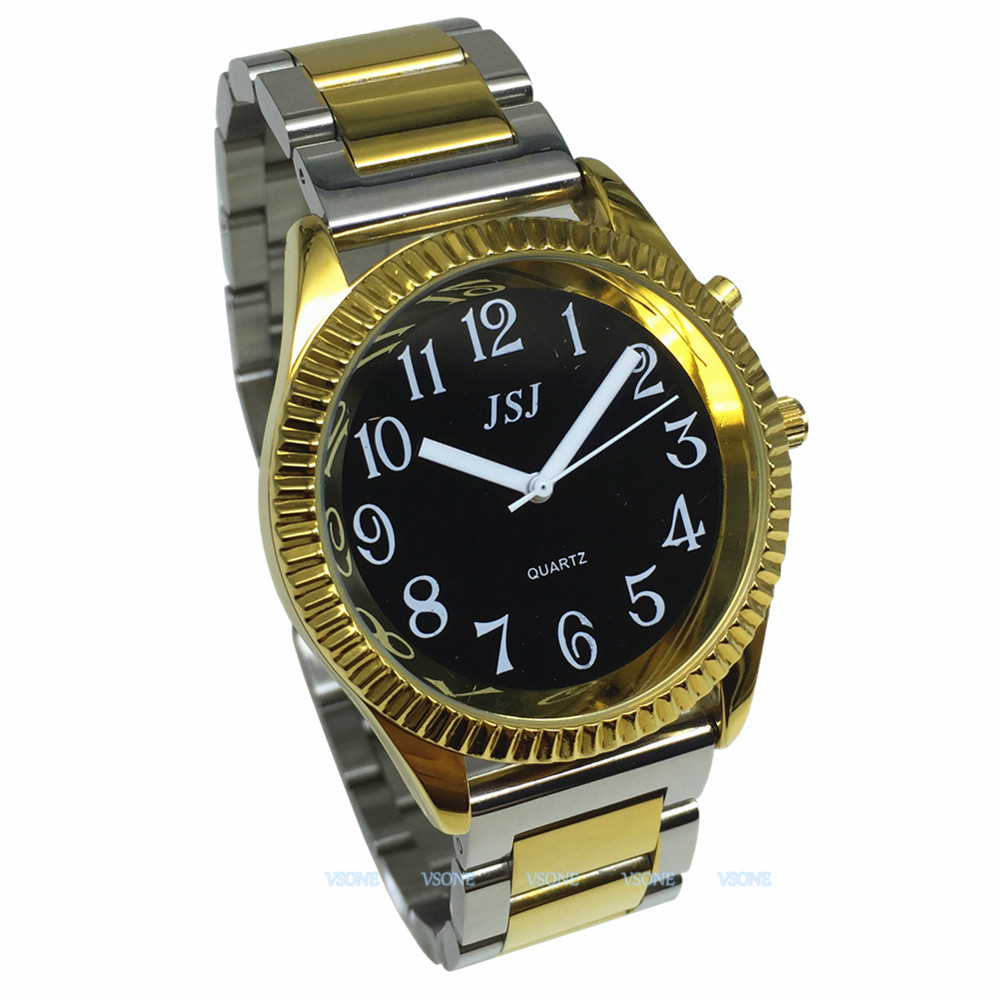 English Talking Watch With Alarm Function, Talking Date And Time,Black Dial, Folding Clasp, Golden Case TAG-305
