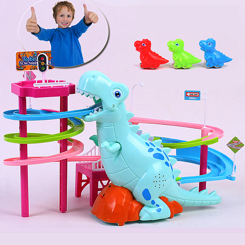 Brand New Electric Slide Railcar Track toy 3-6 years old Dinosaur climb stairs music light play interactive educational toys 3