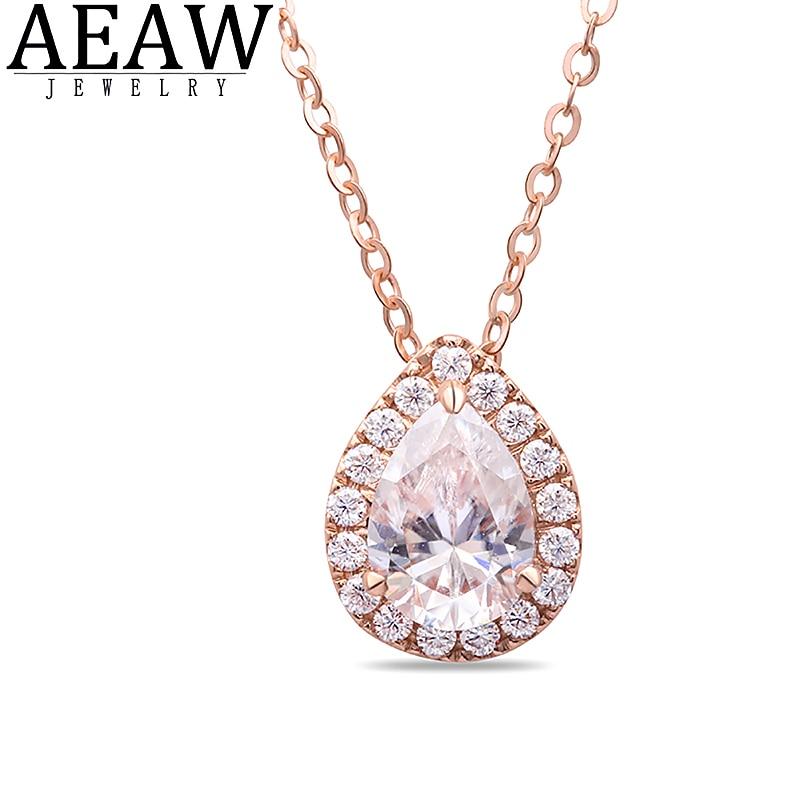 DF Color VVS1 Moissanite Necklace,1 carat 5x7mm Pear Cut Classic Style Solid 18k Rose Gold Fine Pendant Neckllace for Lady