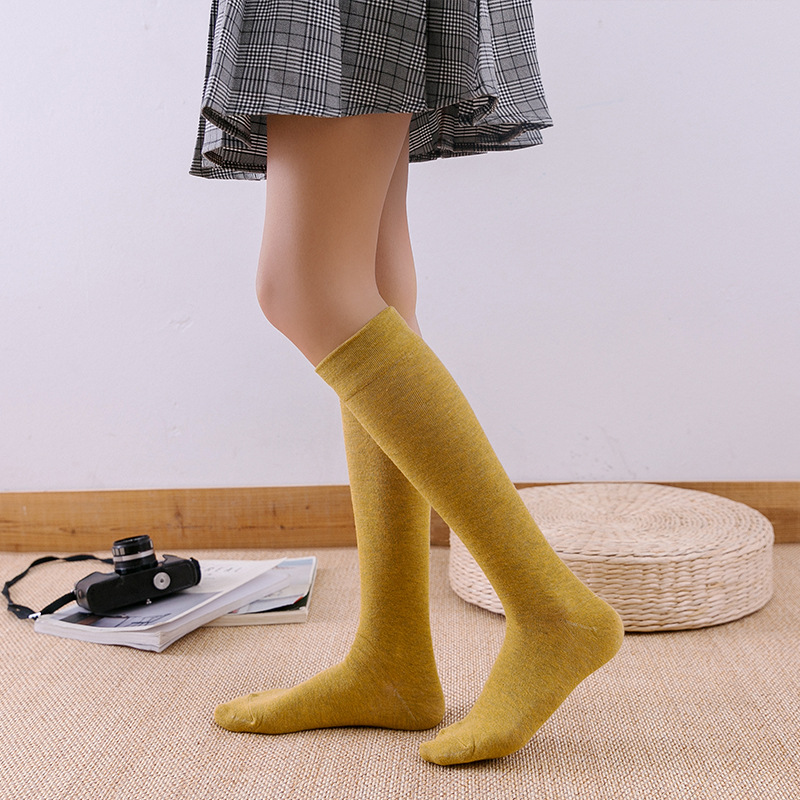 Knee High Socks Autumn And Winter New Knee-high Socks Japanese Retro Color Cotton Long Tube Calf Short Boots Pile Adult Female