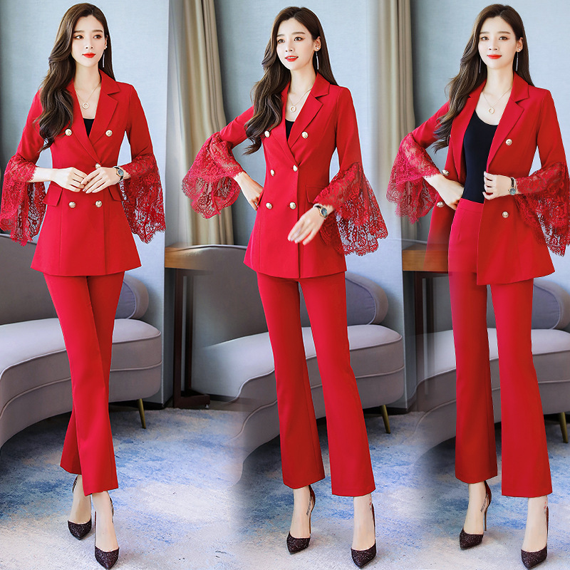 Temperament Women's Suits New Autumn Slim Stitching Lace Long Sleeve Ladies Jacket Casual Trousers Two-piece Set High Quality