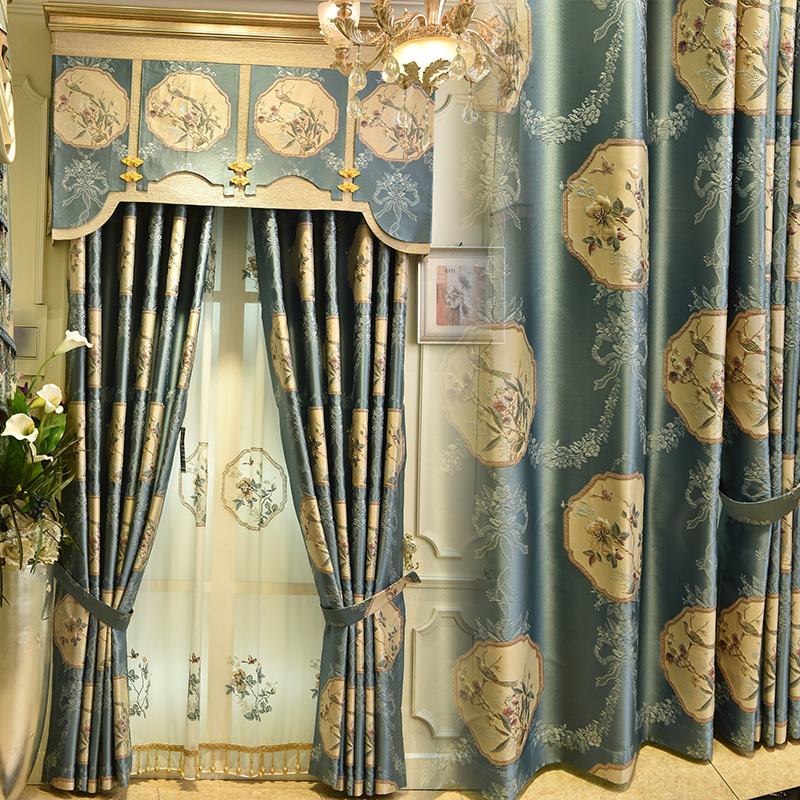Chinese Style Luxury Villa 3D Embossed Embroidery Curtains For Living Room Royal Custom Curtains For Bedroom/Kitchen Window #4