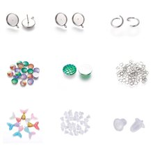 DIY Stud Anting-Anting Membuat Resin Liontin dengan Glitter Bubuk Whale Ekor Bentuk Resin Cabochons Mermaid Ikan Skal Anting-Anting Pengaturan(China)