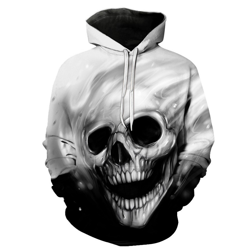 2020 New Hot Unisex Sweatshirt 3d-printed Flame Skull Hoodie Pocket Grey Coat Men's Casual Hoodie Manufacturer Promotion S-6XL