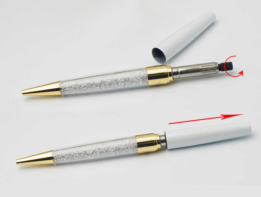 New lady student lovely crystal pen with cristales elements retail box case Ballpoint pen