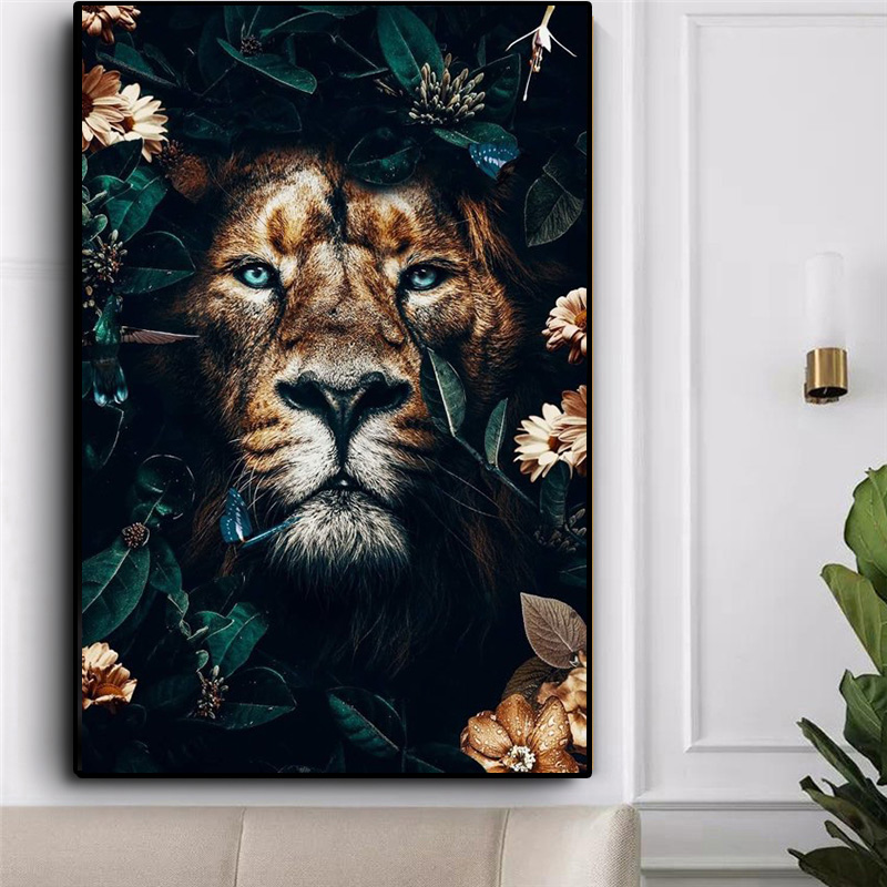 Miaodu Male lion in Grass 5D DIY Diamond Painting Mosaic Embroidery Diamond Painting Cross Stitch Embroidery Crafts Paintings