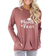 Mama Bear Casual Women T-shirt Autumn Winter Trendy Long Sleeve Pocket Tee Ladies Femme Graphic Kawaii Top Plus Size Edgy Clothe(China)