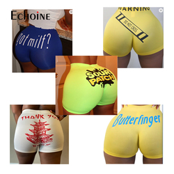 Echoine Female Running Sport Workout Short Pants Summer Sexy Women Solid Color Skinny Fitness Letter Print Casual Shorts Bottom