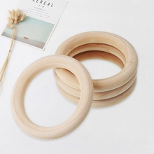 5PCS/Set 70mm Baby Wooden Lead-Free Molar Teething Ring Wood Color Wooden Ring N