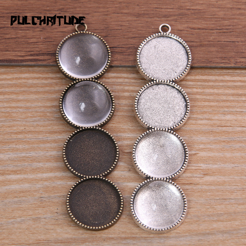 6pcs New Product 15mm*4 Inner Size Two Color Metal Alloy Simple Round Cabochon Pendant Setting Jewelry Findings