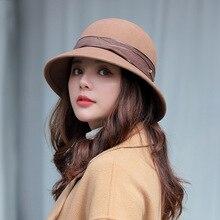 Winter Women Fisherman Hat Genuine Wool Belt Brand Design Bucket hats  Felt Hat Fedoras Adjustable chic letters pattern strap embellished felt bucket hat for women