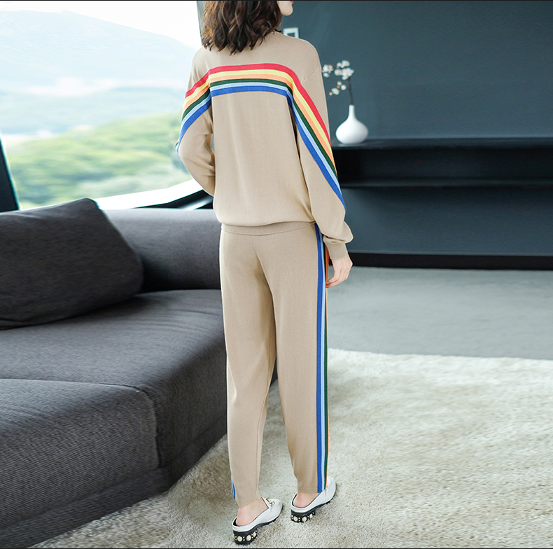 2019 Autumn Knitted Casual Striped Two Piece Sets Outfits Women Sweater And Pants Suits Fashion Elegant Korean Tracksuit Sets 41