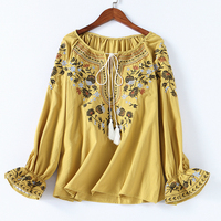 Spring Women Fashion Cotton Shirt Casual Autumn Floral Embroidery Lace up O neck Blouse Shirt Ladies Casual Boho Tops