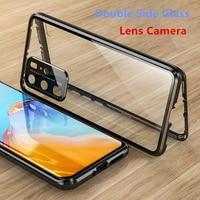 Doppelseitige Glas Magnetische Fall Für Huawei P30 P40 Pro Lite Objektiv Kamera Für Mate 30 20 Pro Nova 7 6 Pro Se Ehre 30 X10 Abdeckung