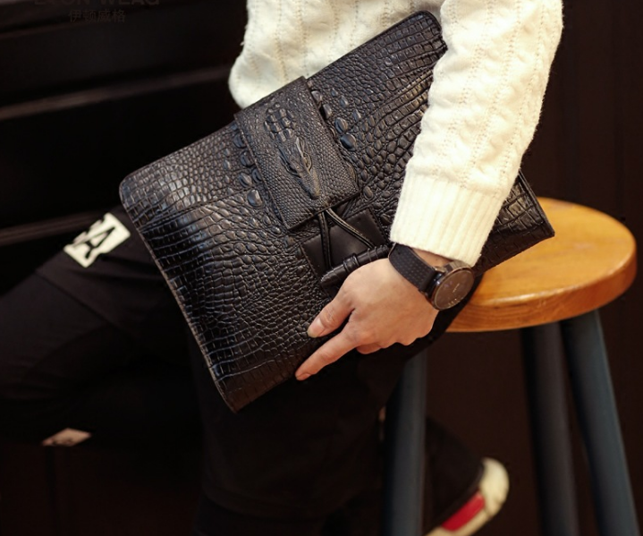 New Design Men Chic Briefcase Classic Big Mens Clutch Bag Crocodile Pattern Leather Business Office Bags Bolso Hombre DF284