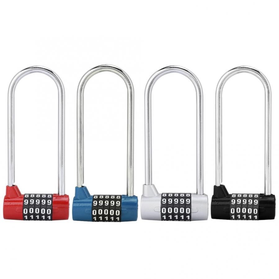Zinc Alloy Bike U-Shape Anti-Theft Lock Combination Digit Password Code Door Lock Extra Long Cabinet Door Padlock for Gym School