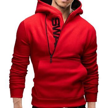 Men Sports Long Sleeve Hooded Fashion Zip Half Cardigan Thin Jacket Casual Slim Pocket Hoodie