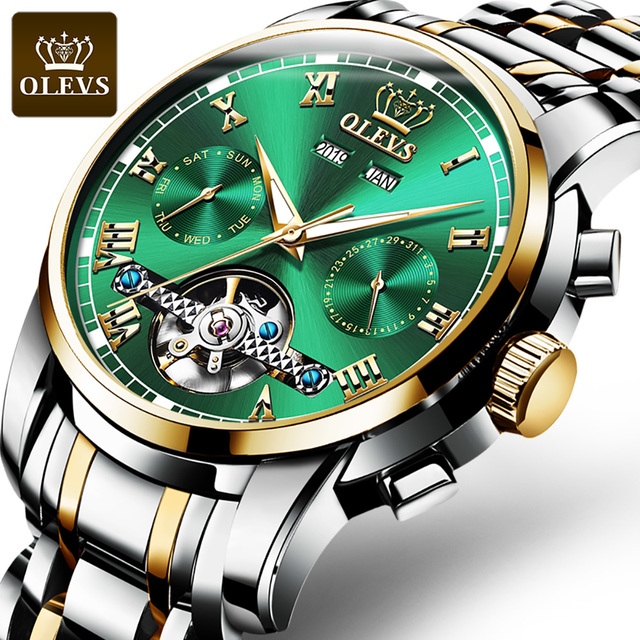 Mechanical Men Watches Automatic Stainless Steel Waterproof Date Week Green Fashion Classic Wrist Watches 6607 1