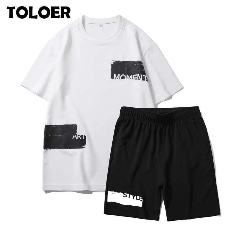 運動着の男性のトラックスーツ夏セット半袖 tシャツヒップホップトップス + パンツスーツスポーツセット男性服男性セット