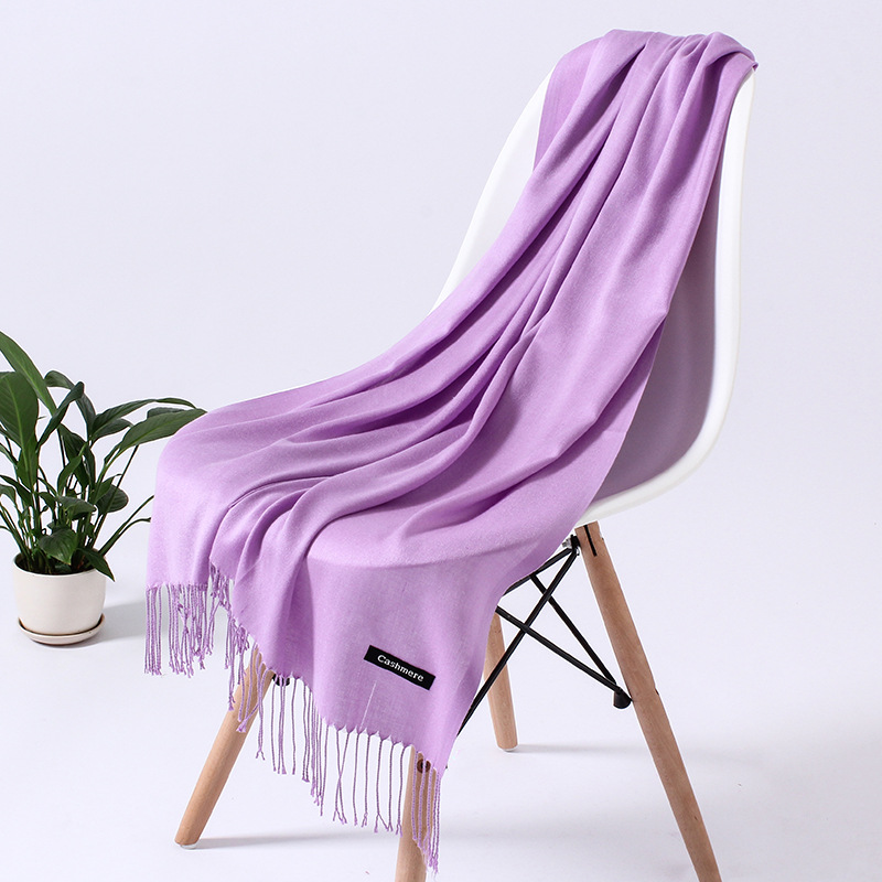 Однотонный кашемировый шарф для женщин новые длинные мягкие шали и палантины пашмины модные хиджаб с кисточками женские шейные шарфы - Цвет: 110g light purple