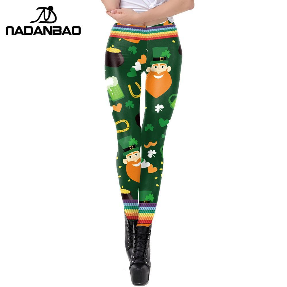 NADANBAO Lucky Clover Leggings For Woman St Patrick's Day Shamrock Pants Plus Size Party Irish Elastic Fitness Slim Leggins