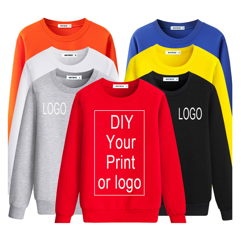 Customized Print Sweatshirt Pullover Solid Tracksuit Men/Women/Child Uniform DIY Logo Photo Text Cotton High Quality Streetwear