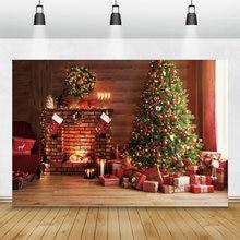 Laeacco фон для фотосъемки в стиле Рождества Фоны елка камин