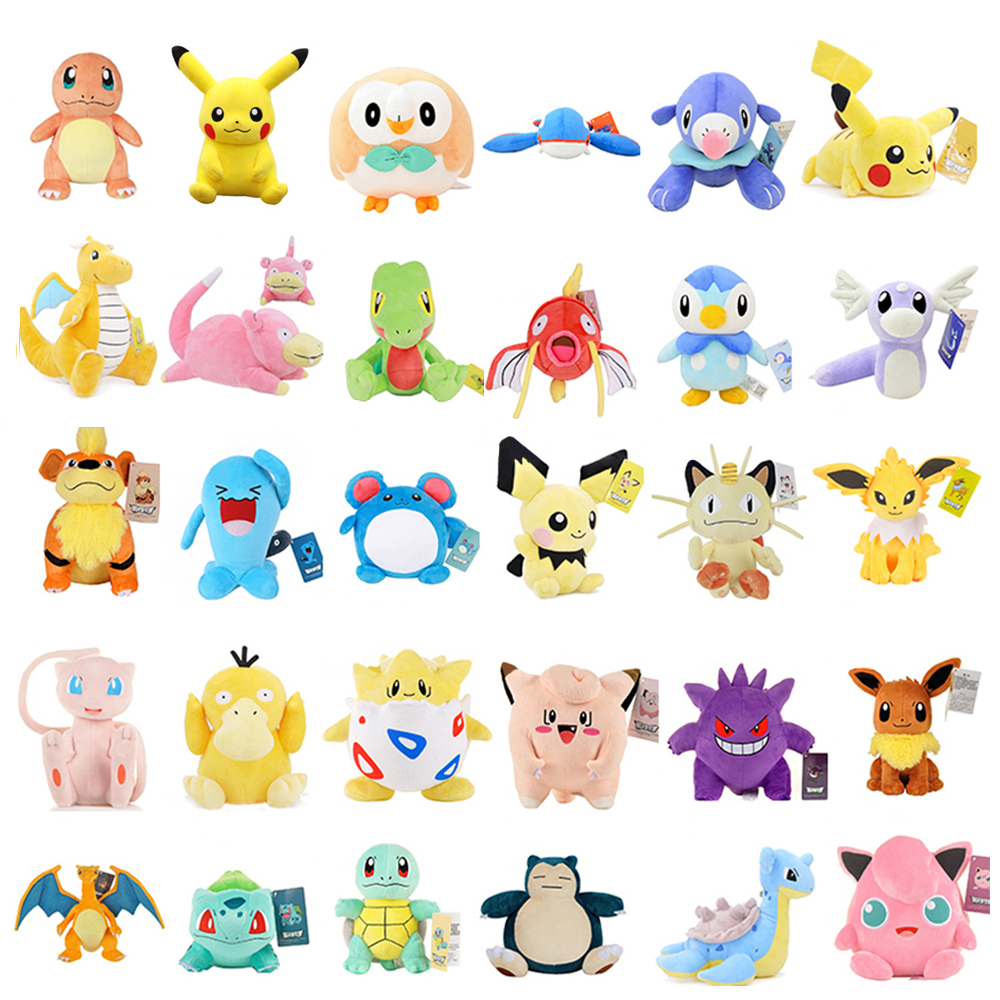 New Pikachu Eevee Snorlax Squirtle Bulbasaur Charmander Mew Anime Elf Plush Pillow Toys Soft Stuffed Doll For Children Gift