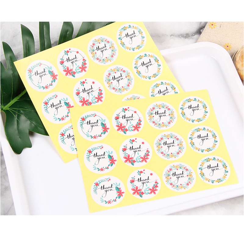 Купить с кэшбэком 120pcs/lot 'thank you' Flower Elliptical Retro Seal Stickers Wedding Decoration Birthday Cookie Cake Gift DIY Scrapbooking Label