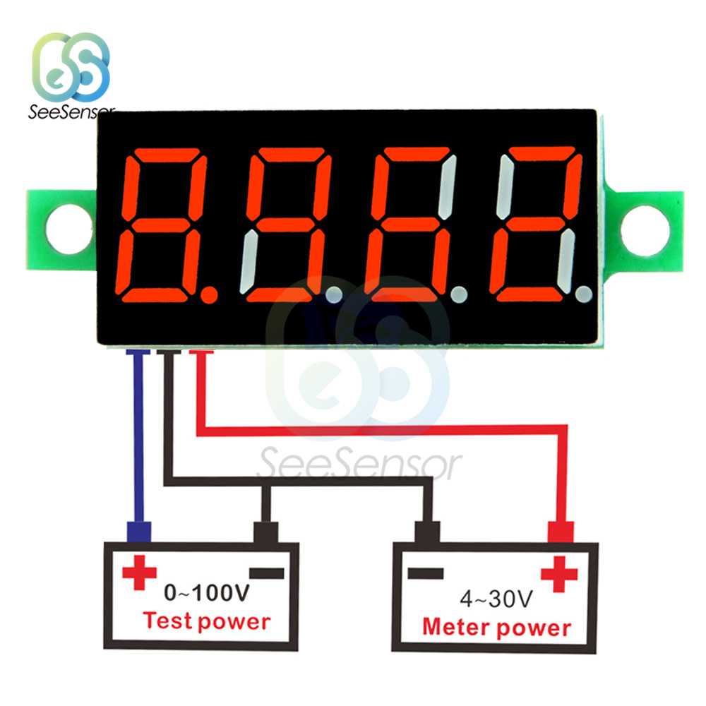 0 36 inch LED Digital Voltmeter DC 0 100V Voltage Meter Auto Car Mobile Power Voltage Tester Detector 3 Wire Red Green Blue in Voltage Meters from Tools