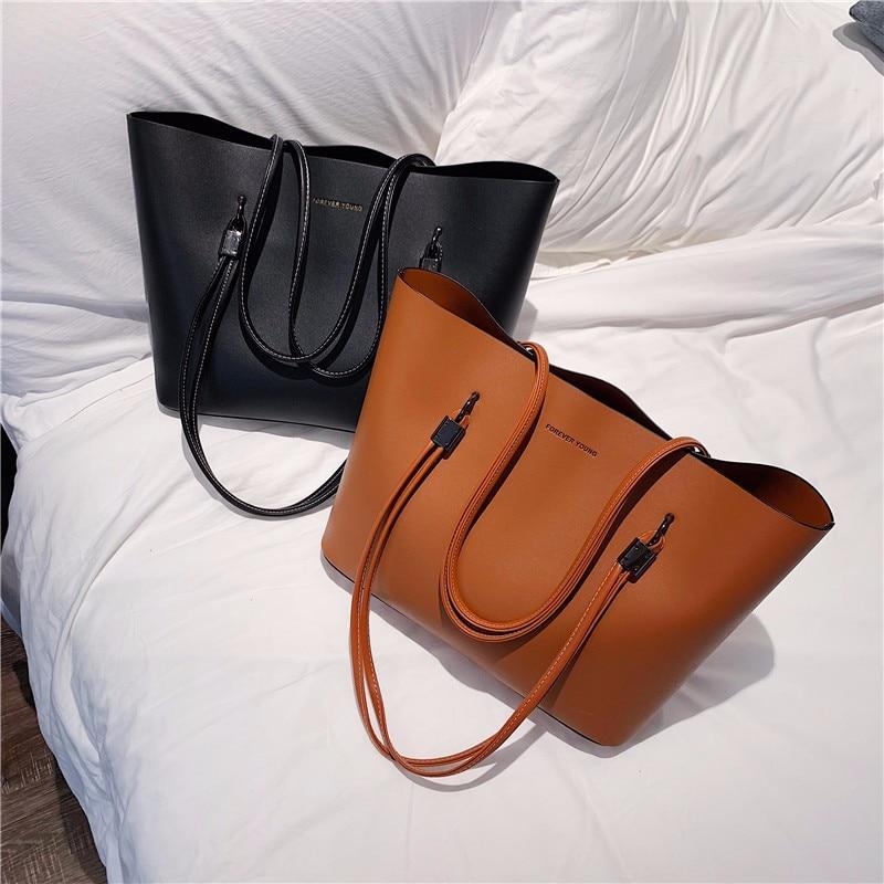 Women bag Solid Women's PU Leather Handbags Luxury Lady Hand Bags With Purse Pocket Women messenger bag Big Tote Sac Bols