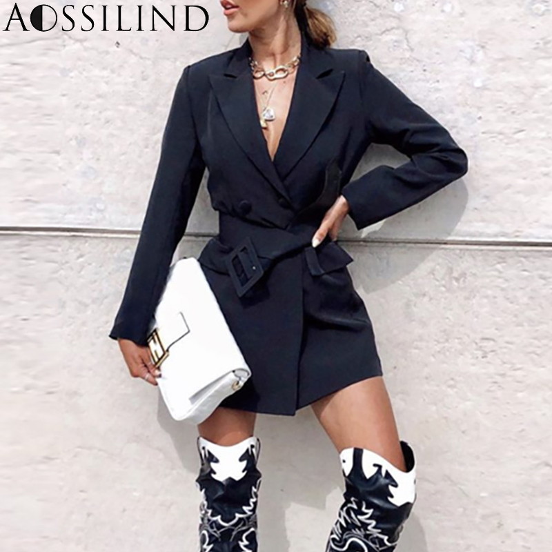AOSSILIND Autumn Long Sleeve Sashes Long Blazer Women Notched Sexy Women Coat Black Casual Women Blazer Dress