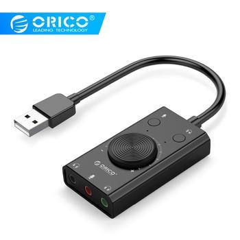 ORICO zewnętrzna karta dźwiękowa USB Stereo karta dźwiękowa USB Mic głośnik gniazdo Audio 3.5mm Adapter do kabla do komputera Laptop Free Drive